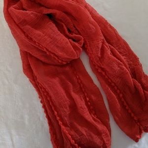 Bright coral long scarf